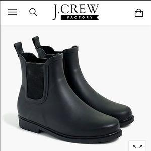 Like new J. Crew Chelsea black rain boots